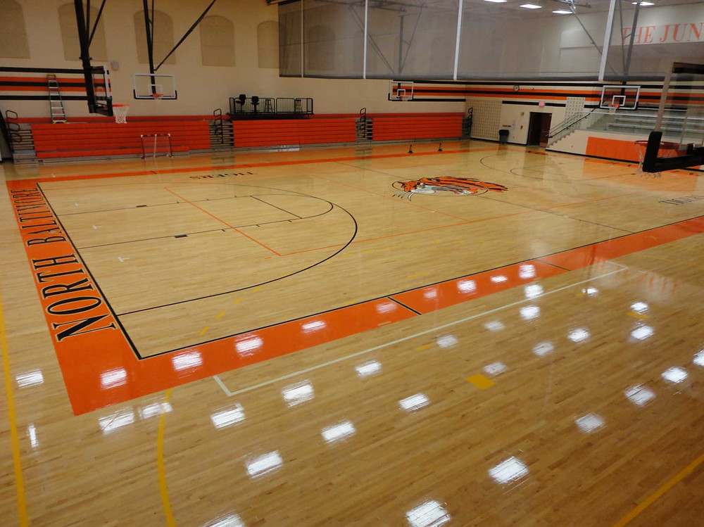North Baltimore High School located in New Baltimore, Ohio new Bio Cushion wood gymnasium flooring