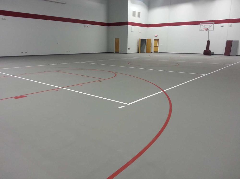 Rocky Hock Baptist Church located in Edenton, NC Pulastic Strata Sport gymnasium flooring