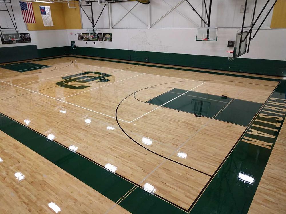 Oakland Christian School located in Auburn Hills, Michigan Bio Cushion wood gymnasium wood flooring