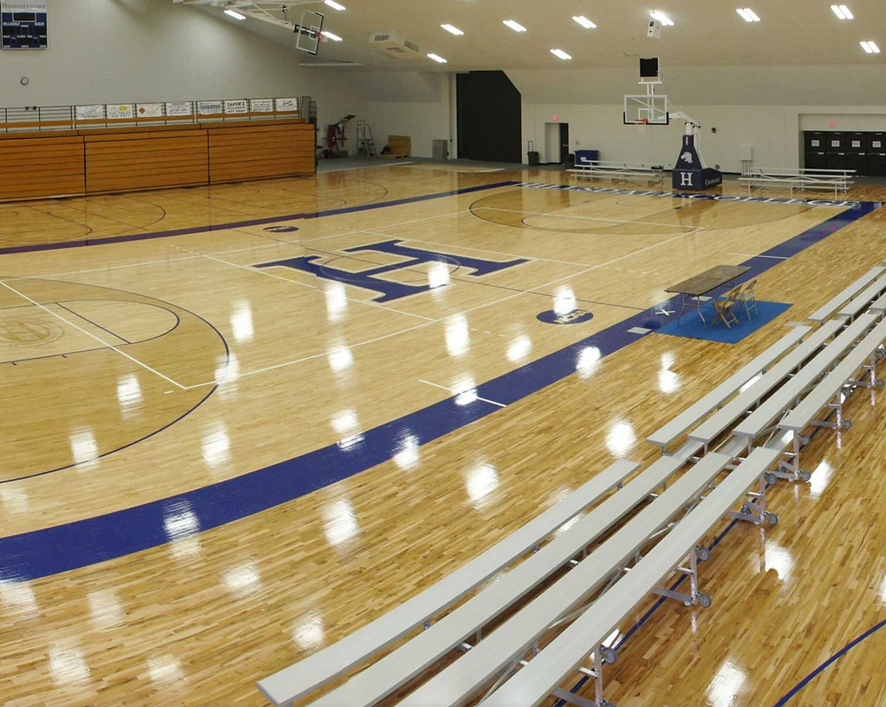 Hillsdale College Main Court Bio Channel Classic and MVP located in Hillsdale, Michigan wood gymnasium flooring