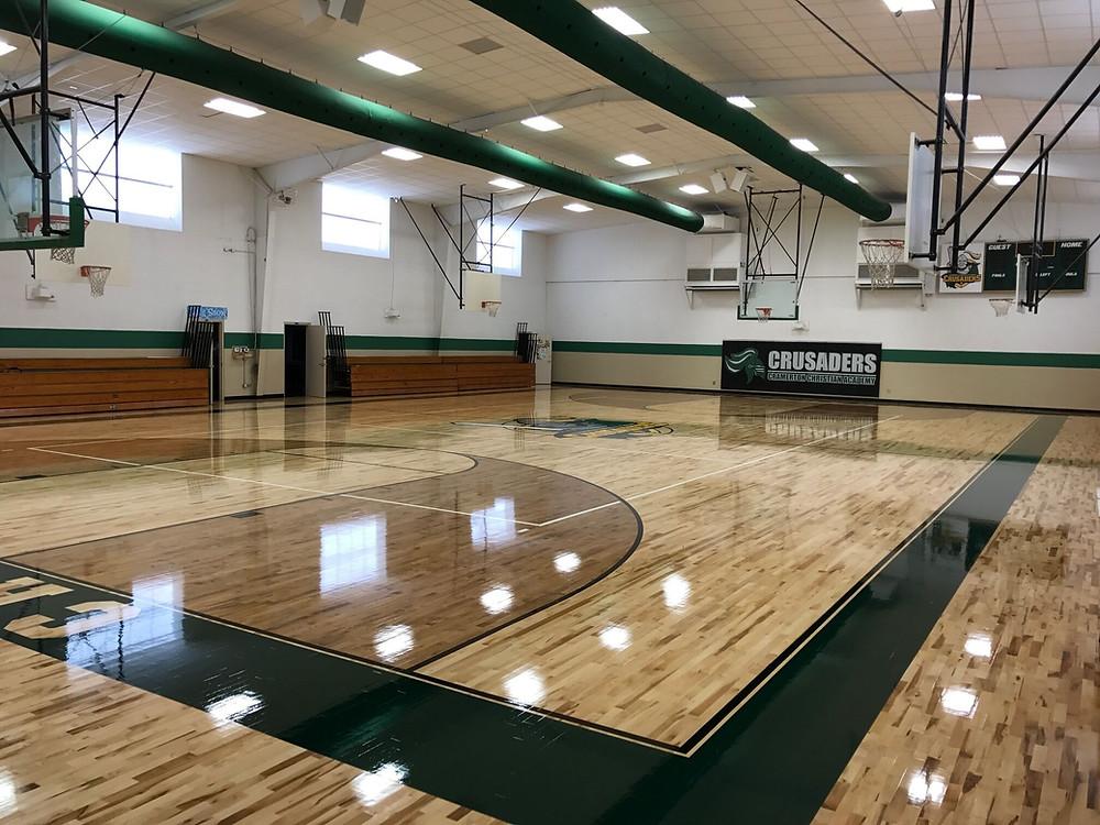 Cramerton Christian School located in Cramerton, North Carolina new Bio Cushion Classic gymnasium flooring