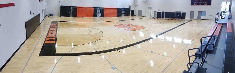 Stockbridge Junior High School located in Stockbridge Michigan new Bio Cushion Classic Gymnasium Floor