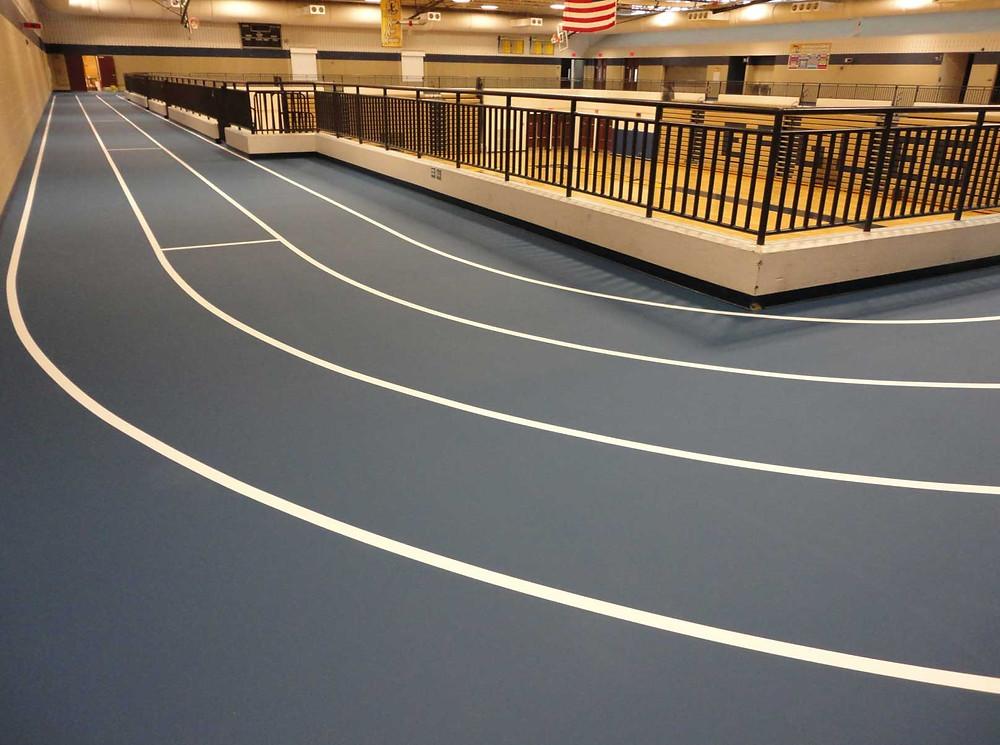 Hartland High School located in Hartland, Michigan gymnasium pulastic track