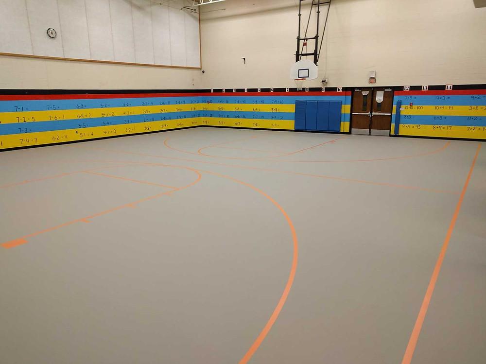 Mancelona Elementary School located in Mancelona, Michigan Pulastic gymnasium flooring