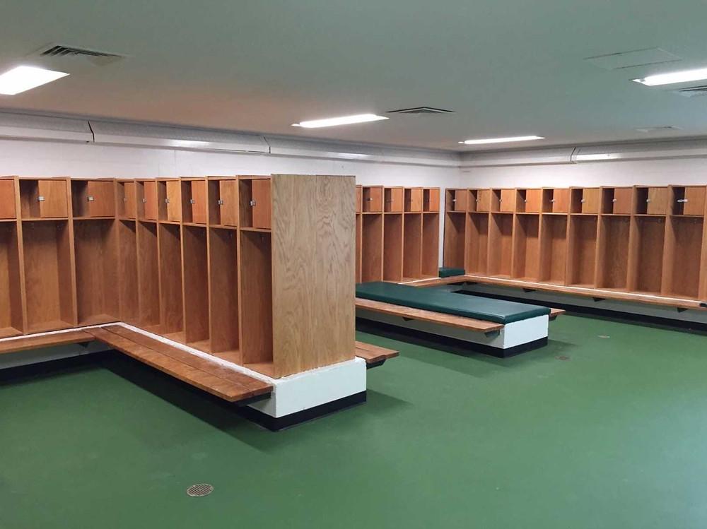 Freeland High School located in Freeland, Michigan Custom Pulastic locker room flooring
