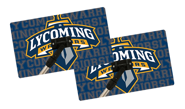 Lycoming Warriors logo printed on 26in x 17in custom specialty sweat mop