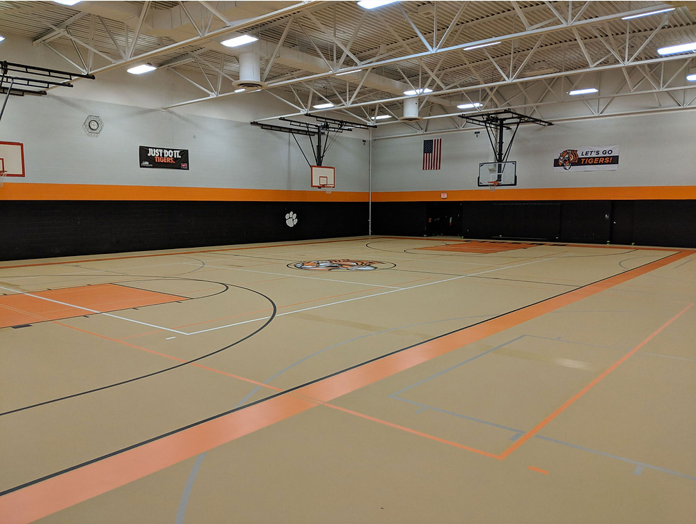 Taylor Prep High School located in Taylor, Michigan Pulastic Classic 90 gymnasium flooring