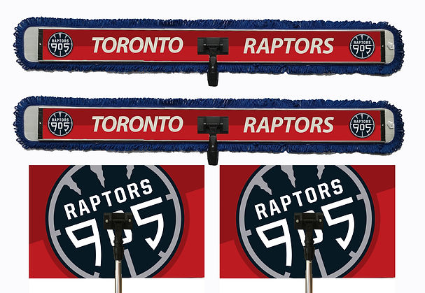 Toronto Raptos logo printed on 26in x 17in custom specialty sweat mop and 48in x 6in