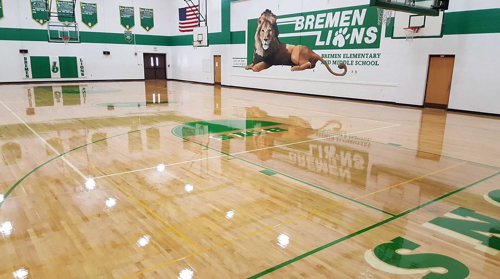 Bremen Elementary and Middle School located in Bremen, Indiana gymnasium flooring