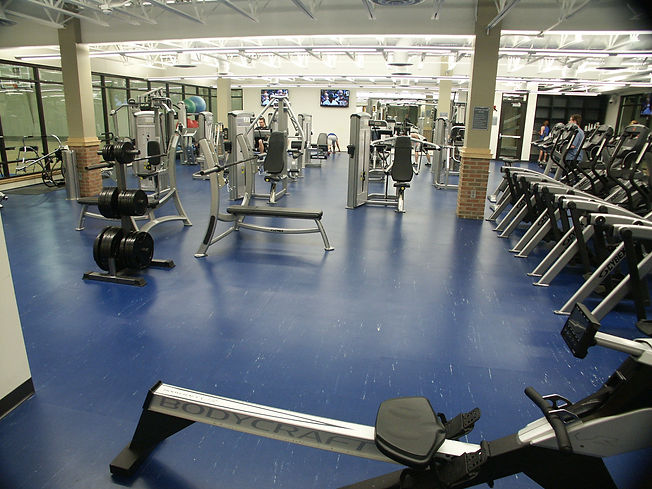 Rubber flooring system in a workout facility placed by Foster Specialty Floors