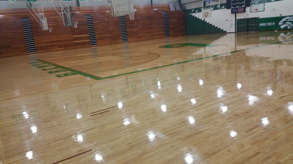 Bremen High School located in Bremen, Indiana gymnasium flooring