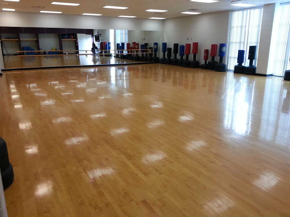 Monroe County Community College located in Monroe, Michigan Aerobics wood flooring