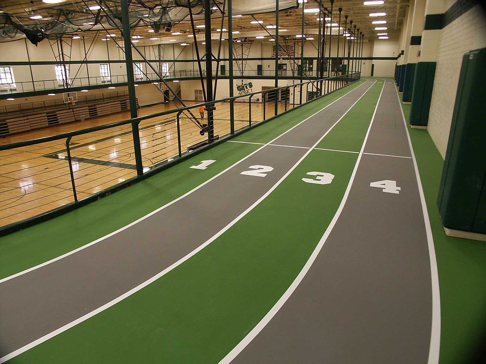 Novi High School located in Novi, Michigan gymnasium track