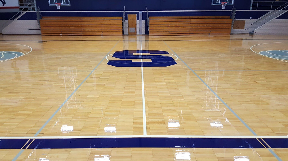 Southfield High School located in Southfield Michigan wood gymnasium flooring