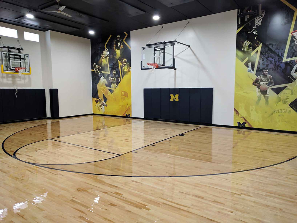 Practice gymnasium flooring Bio Channel located at a Private Residence in Michigan