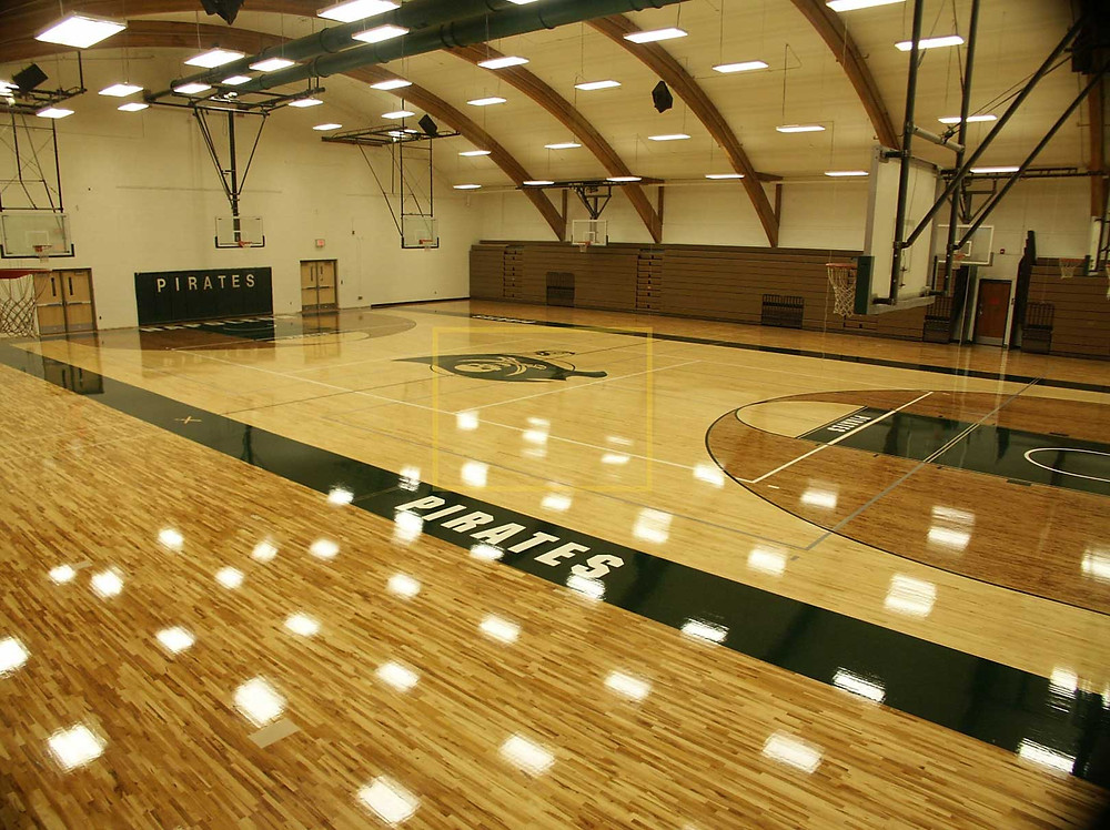 Napoleon High School located in Napoleon, Michigan Bio Channel Classic wood gymnasium flooring