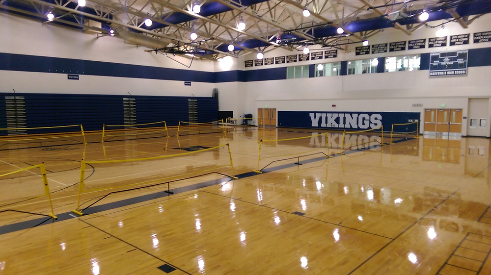 Marysville High School located in Marysville, Michigan wood gymnasium flooring