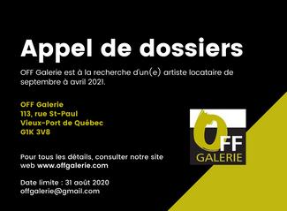 Appel de dossiers - OFF Galerie
