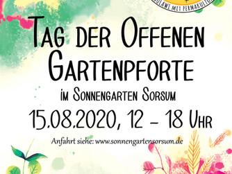 Einladung zum Tag der Offenen Gartenpforte am 15.08.2020 von 12-18