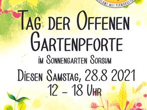 Tag der offenen Gartenpforte  diesen Samstag 28.8.2021