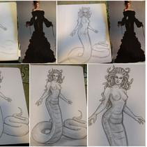 Medusa sketch start to finish