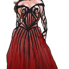 Rose and Thorn costume sketch