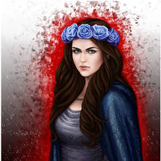 Girl with the Blue Roses