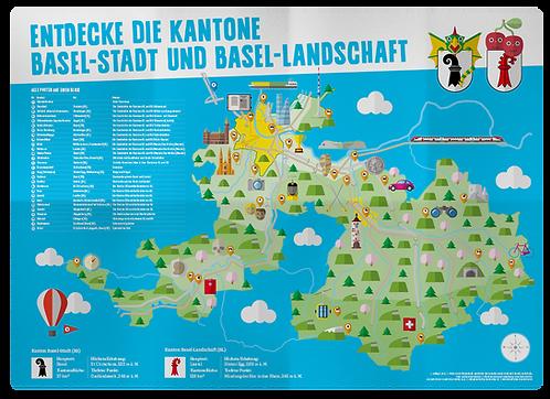 Plakat «Entdecke die Kantone Basel-Stadt und Basel-Landschaft»