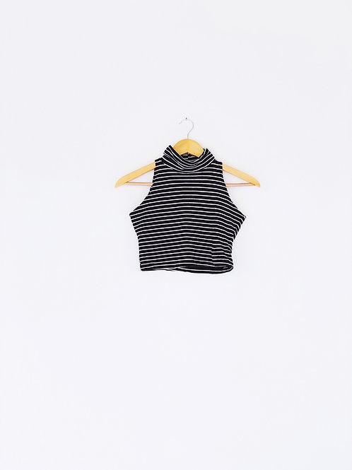 Striped Sleeveless Turtleneck