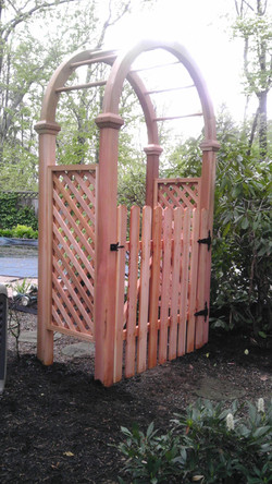 Dog Ear Spaced Picket Gate In Arbor