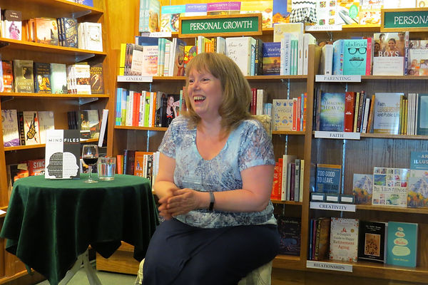 Author Penny Hodgson at the Owl's Nest Bookstore Book launch for Mind Files