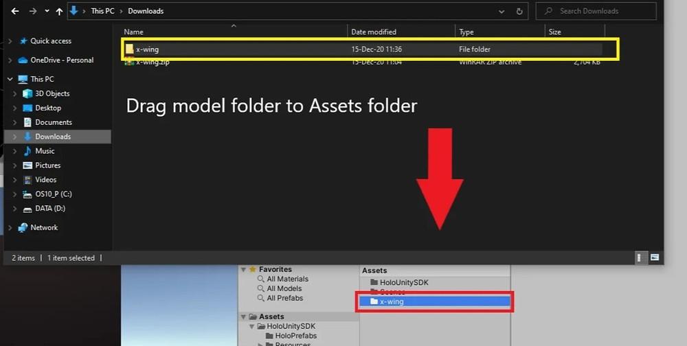 Drag model folder to Unity