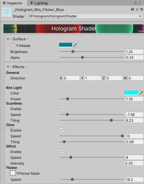 Hologram Shader Inspector