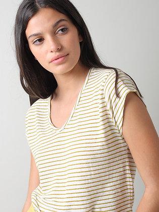 Camiseta Rayas Lino Algodón