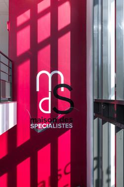 Logo découpé aluminium- Maison des Spécialistes à Nevers