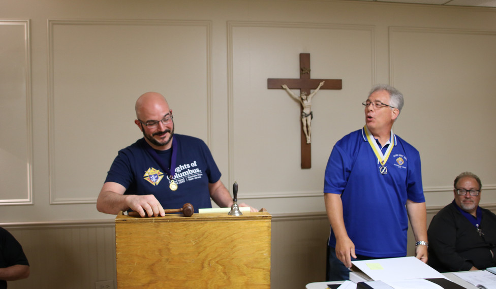Elected Grand Knight Vince Sicari first official meeting