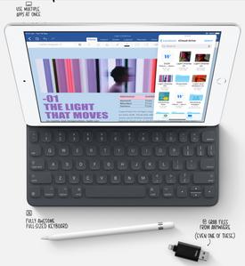 Smart keyboard and Apple Pencil 1st gen.