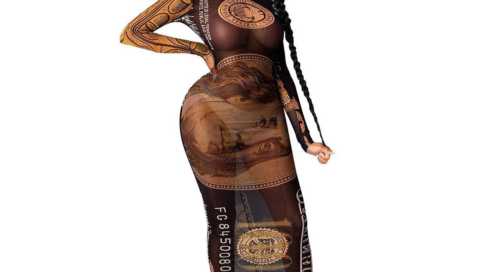 Money Print  Long Sleeve Turtleneck Bodycon Evening Dresses