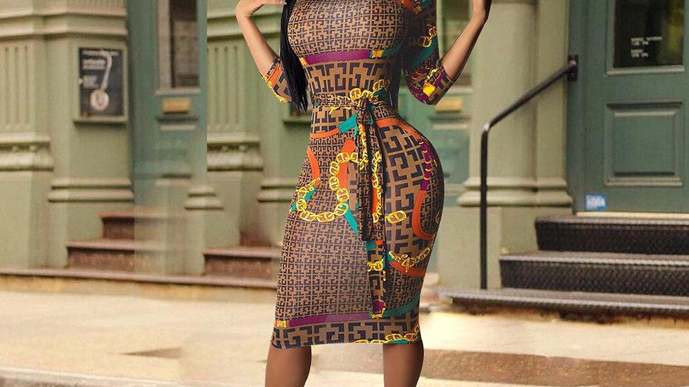 Women Dress Half Sleeve Plaid Print Dress
