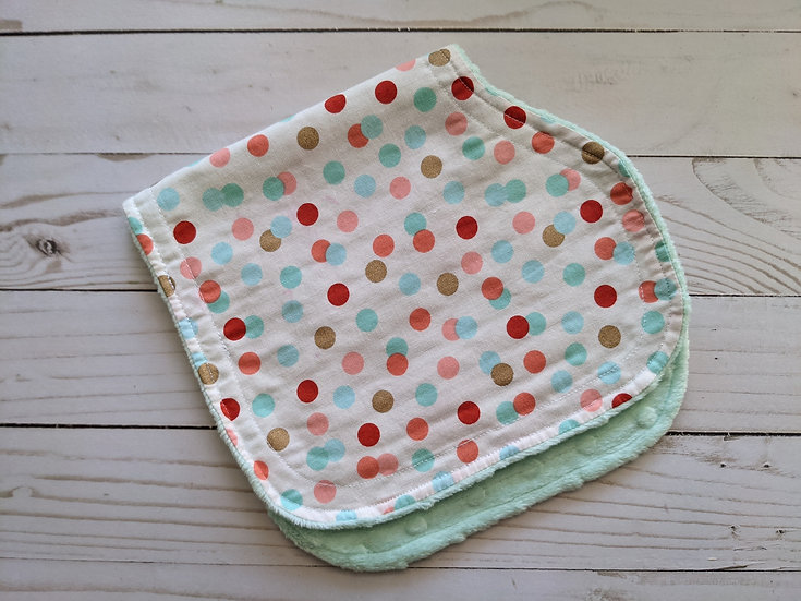Burp Cloths - Mint Polka Dot Party {dot minky}