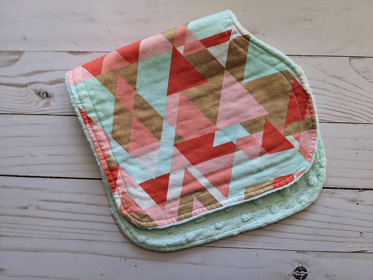 Burp Cloths - Mint Tripping Triangles {dot minky}