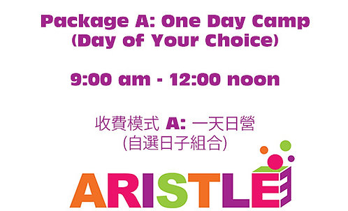 Package A: One Day Camp, 09:00am-12:00noon