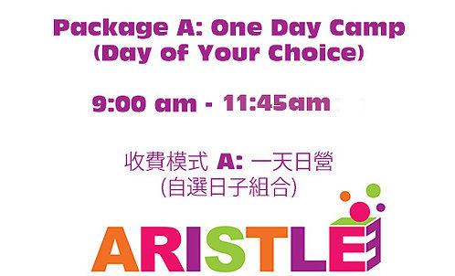 Package A: One Day Camp, 09:00am-11:45am