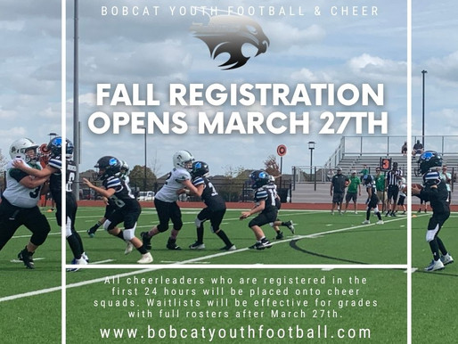 Fall Registration Opens March 27