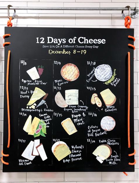 12 Days of Cheese Chalk Art