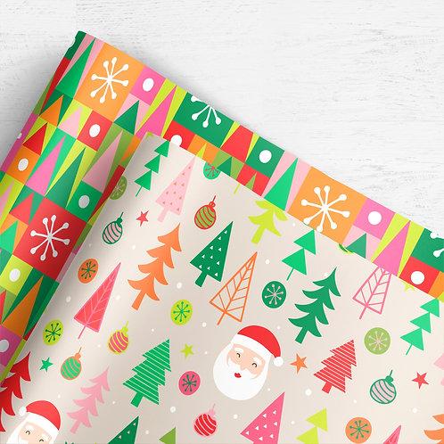 Gift Wrap Co-ord Set   Colourful Christmas