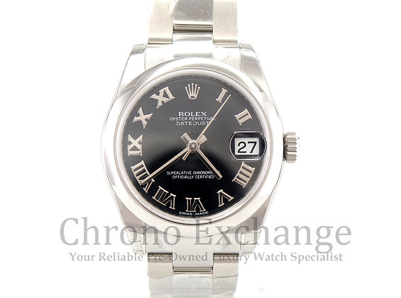 Pre Owned Rolex Datejust Mid Size - Black Dial
