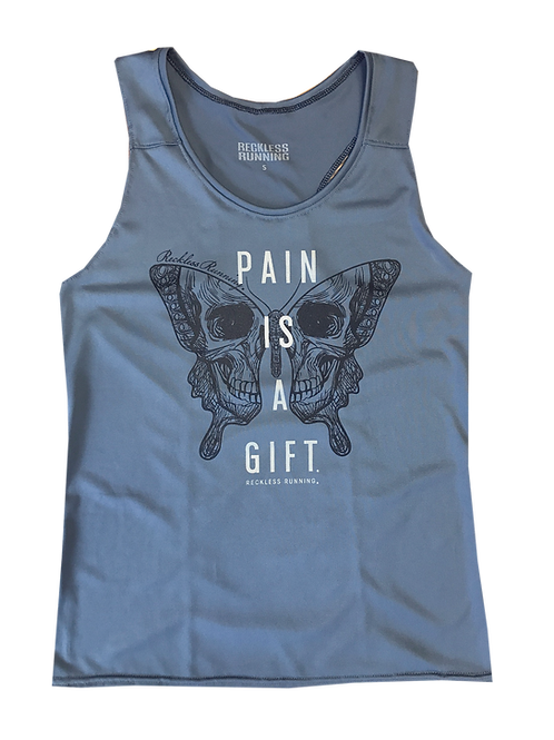Women's PAIN IS A GIFT Butterfly Skull Running Tank