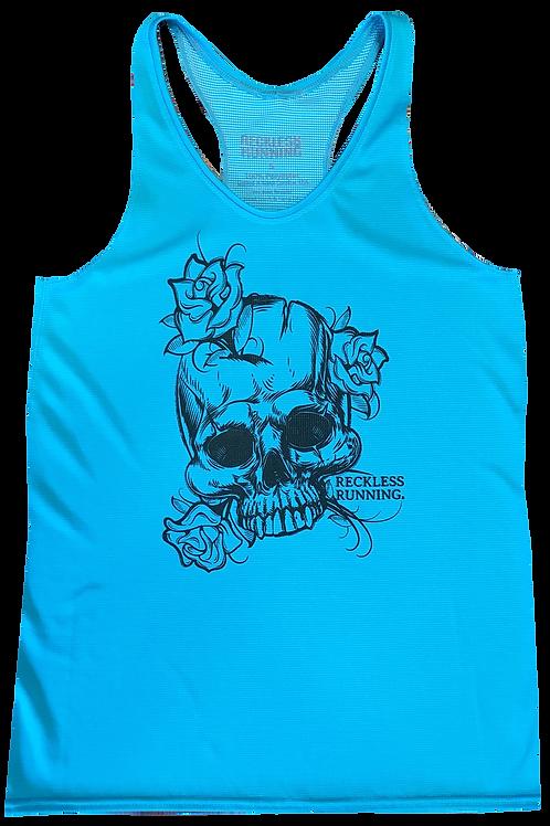 Ladies 'Runs-N-Roses' Turquoise Performance Racing Singlet