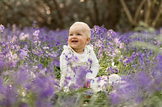 1 year old girl sitting in bluebells - stephanie atkins photography
